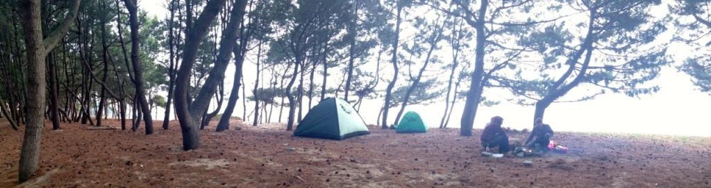 Camping on the beach in Korea