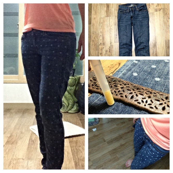 Vintage crafts -- polkadot diy skinnies
