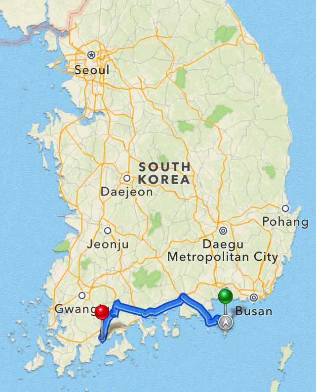 Driving from Geoje to Boseong
