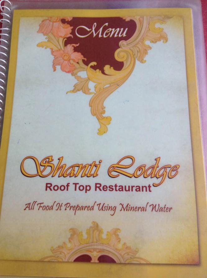 Shanti Lodge Agra Menu