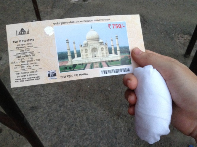 Buying tickets for the Taj Mahal