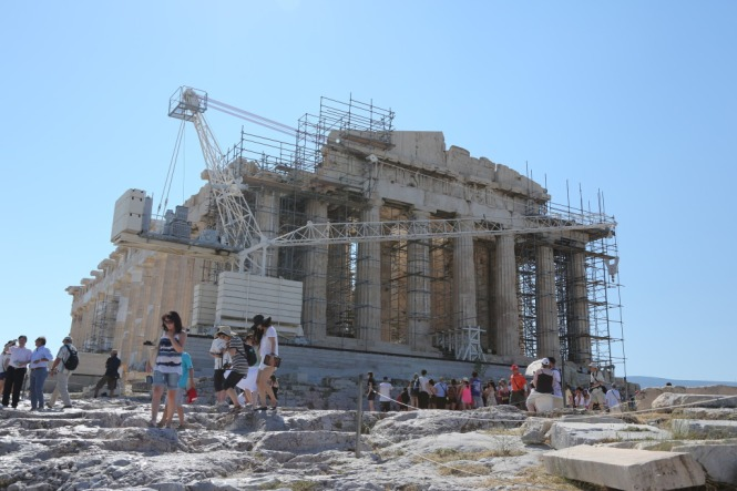 Acropolis with scaffolding